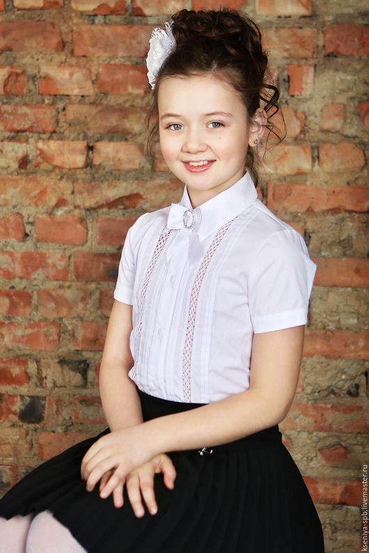 Блузки ручной работы. Ярмарка Мастеров - ручная работа. Купить Школьная форма для девочек - белая блузка с коротким рукавом (Арт.31). Handmade.