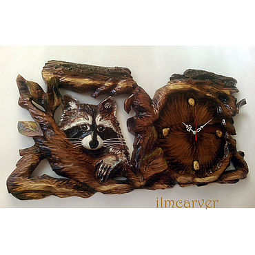 For home and interior handmade. Livemaster - original item Carved wooden clock Coon 68h34 cm. Handmade.