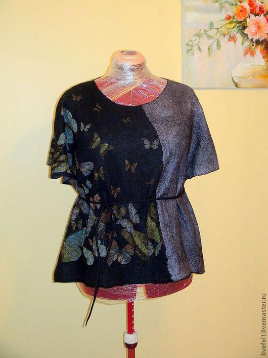 """Блузки ручной работы. Ярмарка Мастеров - ручная работа. Купить Валяная блуза топ  """" Бабочки """" чёрная. Handmade."""