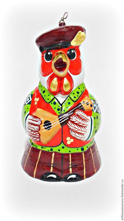 """Колокольчики ручной работы. Ярмарка Мастеров - ручная работа. Купить Керамический колокольчик """"Петушок"""". Handmade. Ярко-красный, колокольчики из керамики"""