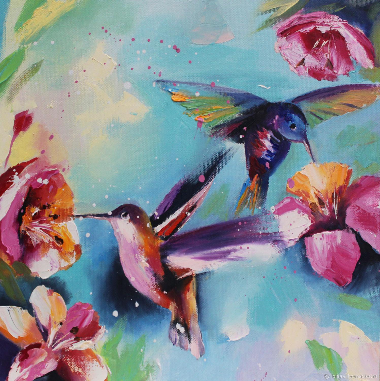 """Колибри"" картина маслом на холсте 40/40 см, Картины, Сочи,  Фото №1"