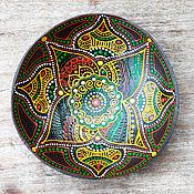 Посуда ручной работы. Ярмарка Мастеров - ручная работа Кокосовая тарелка с индийскими мотивами. Handmade.