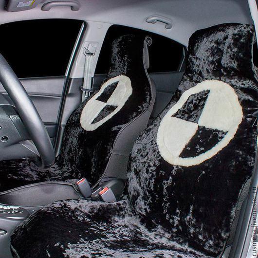 Автомобильные ручной работы. Ярмарка Мастеров - ручная работа. Купить Меховые накидки на сидения BMW Код:110. Handmade. Чёрно-белый
