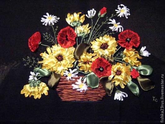 Картины цветов ручной работы. Ярмарка Мастеров - ручная работа. Купить Картина лентами Маки. Handmade. Картина, атласные ленты