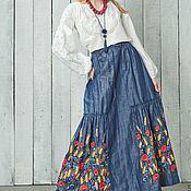 """Одежда ручной работы. Ярмарка Мастеров - ручная работа Вышитая джинсовая юбка в пол """"Маковое поле"""" юбка макси. Handmade."""