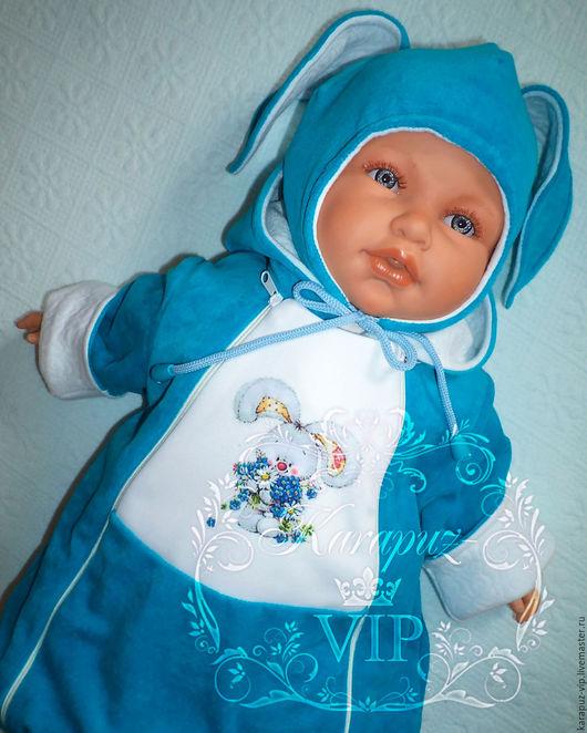 """Одежда ручной работы. Ярмарка Мастеров - ручная работа. Купить Комплект одежды для малыша  """"Зайка на бирюзе"""". Handmade. Бирюзовый"""
