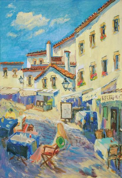 Город ручной работы. Ярмарка Мастеров - ручная работа. Купить «Тосса-де-Мар. Сиеста». Handmade. Картина, картина в подарок