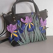 Сумки и аксессуары handmade. Livemaster - original item Bag leather Women`s Bag with Irises applique black. Handmade.