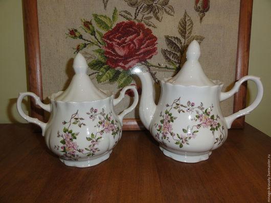 Винтажная посуда. Ярмарка Мастеров - ручная работа. Купить Сахарница и чайник Цветение. Handmade. Чайник, цветение