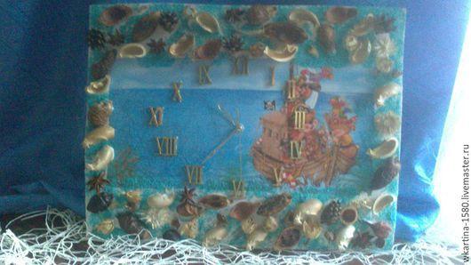 """Часы для дома ручной работы. Ярмарка Мастеров - ручная работа. Купить Часы """"Медвежата отправились в путешествие"""". Handmade. Голубой цвет"""