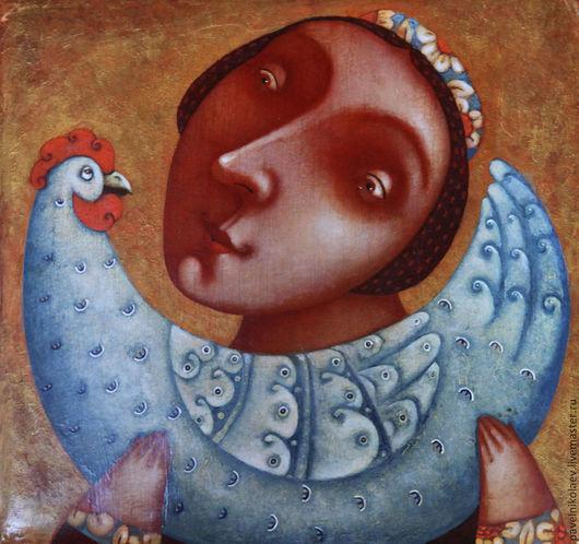"""Репродукции ручной работы. Ярмарка Мастеров - ручная работа. Купить """"Девушка с петушком"""", авторская печать. Handmade. Разноцветный, сувенир, наив"""