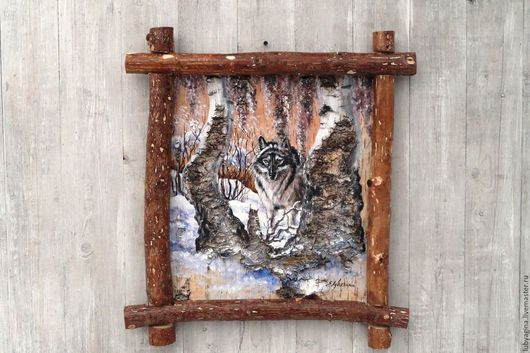 Охота картины и панно, охота, охотнику, подарок охотнику, для охотника, охотничий домик.волк волк на охоте волк волк волк березы волк волк волк волк береста картина на бересте волк береста береста