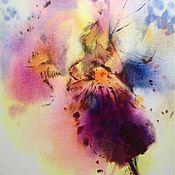 Картины и панно ручной работы. Ярмарка Мастеров - ручная работа Акварель Ирис Фиолетовый. Handmade.