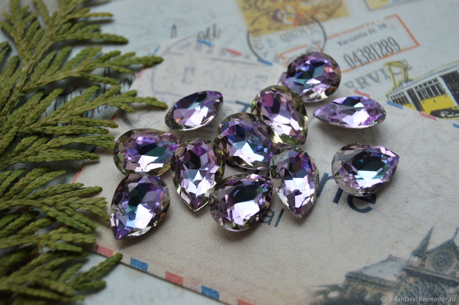 Drop of 10h14 lilac SUITE, Cabochons, Stavropol,  Фото №1