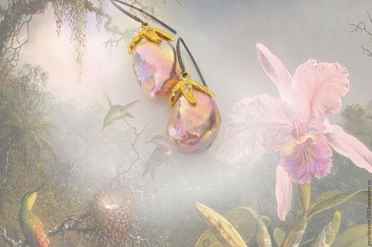 """Серьги ручной работы. Ярмарка Мастеров - ручная работа. Купить """"Золотая орхидея""""сербряные серьги жемчуг суфле. Handmade. Золотой"""