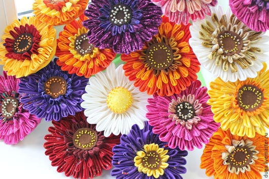 Цветы ручной работы. Ярмарка Мастеров - ручная работа. Купить «Цветы – герберы»   из лоскутков № 419. Handmade. Разноцветный