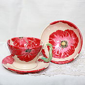 Посуда ручной работы. Ярмарка Мастеров - ручная работа Чашки керамические Маковые. Handmade.