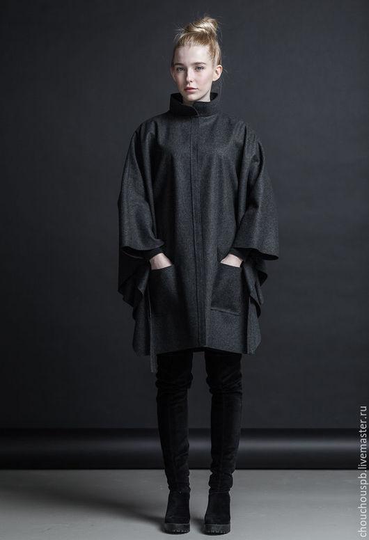 Верхняя одежда ручной работы. Ярмарка Мастеров - ручная работа. Купить Пончо - пальто с воротником стойкой. Handmade. Темно-серый