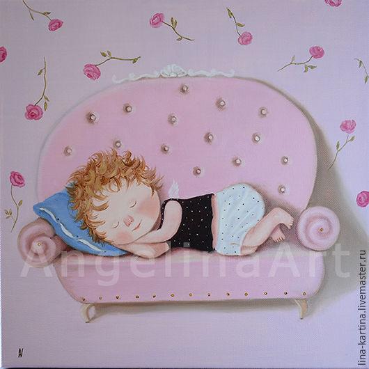 """Люди, ручной работы. Ярмарка Мастеров - ручная работа. Купить Картина маслом """"Розовые сны"""" в детскую или спальню, Тихонечко.. Handmade."""