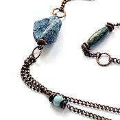Украшения handmade. Livemaster - original item Large necklace with blue coral and chrysocolla Cruise (copper). Handmade.