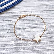 Chain bracelet handmade. Livemaster - original item Thin chain bracelet with mother-of-pearl
