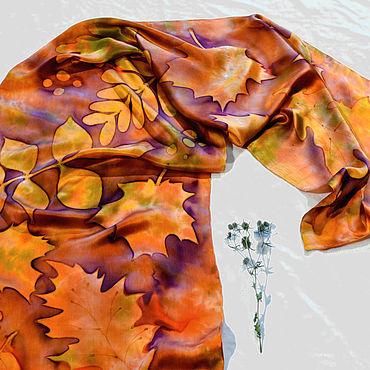 Accessories handmade. Livemaster - original item Scarf silk natural silk satin hand painted batik leaf fall. Handmade.