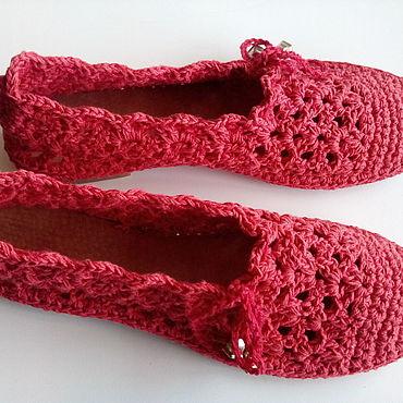Обувь ручной работы. Ярмарка Мастеров - ручная работа Мокасины вязаные Красные, хлопок, размер 36, 37. Handmade.
