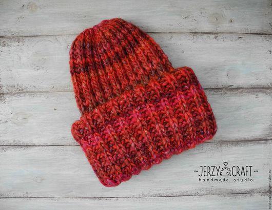 Шапка такори шапочка зимняя шапка теплая шапка с отворотом шапочка с подворотом такори из толстой пряжи шапка объемная шапка теплая зимняя из шерсти шапочка вязаная спицами шапка такори толстая шапка