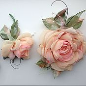 Украшения handmade. Livemaster - original item FABRIC FLOWERS. Wedding set