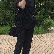 Одежда ручной работы. Ярмарка Мастеров - ручная работа Костюм из вискозного полотна чёрный в белую полоску.. Handmade.