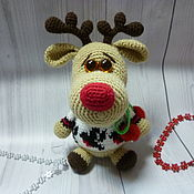 Материалы для творчества handmade. Livemaster - original item MK knitted toy Deer in sweater. Handmade.