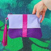 Сумки и аксессуары handmade. Livemaster - original item Cosmetic bag purse suede and leather with tassel Violet with fuchsia. Handmade.