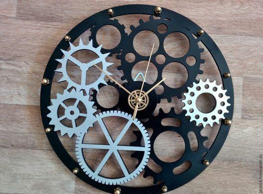 """Часы для дома ручной работы. Ярмарка Мастеров - ручная работа. Купить Настенные часы """"Шестерёнки"""". Handmade. Черный, механизм, техностиль"""