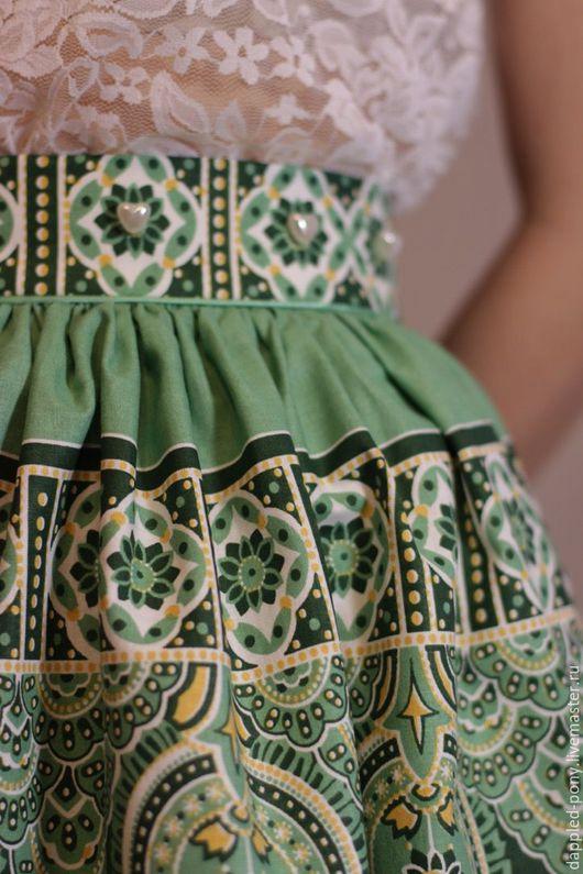 Юбки ручной работы. Ярмарка Мастеров - ручная работа. Купить Пышная юбка. Handmade. Зеленый, хлопковая юбка, дизайнерская одежда