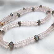 handmade. Livemaster - original item Rose Quartz and Labrador Necklace.. Handmade.