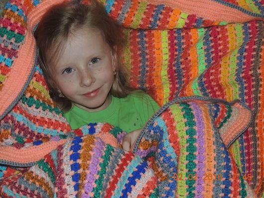 """Текстиль, ковры ручной работы. Ярмарка Мастеров - ручная работа. Купить Плед,покрывало (одеяло )""""47 цветов радуги"""". Handmade."""