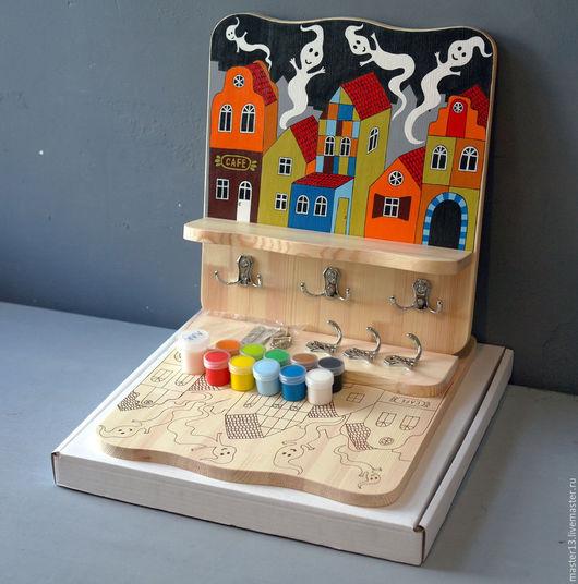 """Детская ручной работы. Ярмарка Мастеров - ручная работа. Купить Полка-вешалка """"Домики-2"""" (набор с контурами и красками). Handmade."""