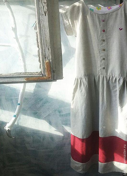 """Платья ручной работы. Ярмарка Мастеров - ручная работа. Купить платье """"малиновая веточка"""". Handmade. Бежевый, лен 100%, хлопок"""