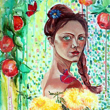 Картины и панно ручной работы. Ярмарка Мастеров - ручная работа Картины: Картина с девушкой с цветами в яблочном саду. Осенний урожай.. Handmade.