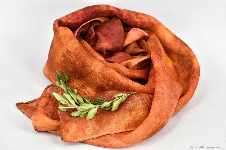 Bufanda de seda estrecha 'Jardín de Naranja' ecoprint, Scarves, Moscow,  Фото №1