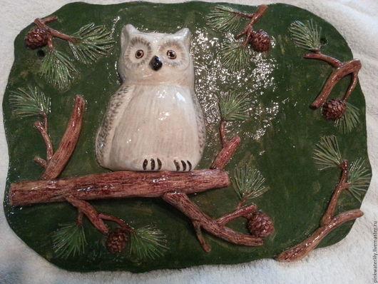 Экстерьер и дача ручной работы. Ярмарка Мастеров - ручная работа. Купить Керамическое панно с совой. Handmade. Зеленый, сосновый лес