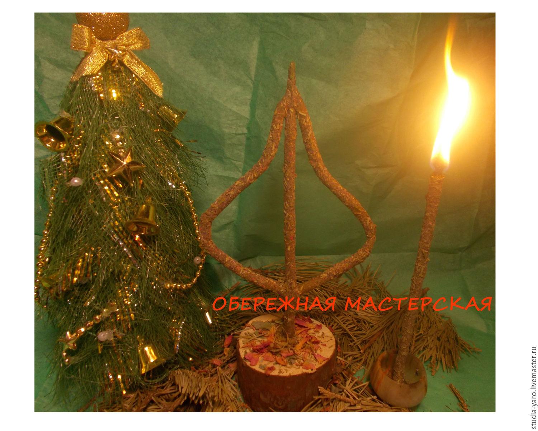 Елочка и дары. Новогодняя травно-восковая свеча.
