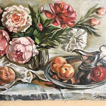 Картины и панно ручной работы. Ярмарка Мастеров - ручная работа Пионы 45*65 масло, холст. Handmade.