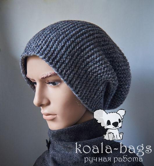 Шапки ручной работы. Ярмарка Мастеров - ручная работа. Купить шапка вязаная мужская бини one size. Handmade. Серый