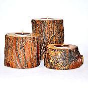 Для дома и интерьера ручной работы. Ярмарка Мастеров - ручная работа Набор подсвечников для чайных свечей из дерева Сибирский Карагач #WC19. Handmade.