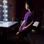 Одежда ручной работы. Ярмарка Мастеров - ручная работа Шерстяное платье с кружевом фиолетовое. Handmade.