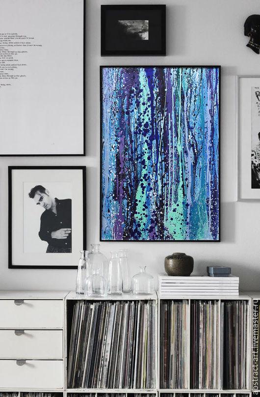 купить картину, абстракция картины, абстракция цветы, в холодных тонах, картины для интерьера, в раме картина масло, абстрактные картины, красная картина, яркая картина, купить картину в москве