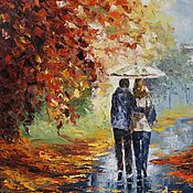 """Картины и панно ручной работы. Ярмарка Мастеров - ручная работа Картина маслом """"Осень. Двое в парке"""" по Афремову. Handmade."""