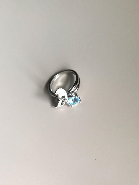 Кольцо с голубым топазом и цирконами в серебре 925 пробы, Кольца, Уфа,  Фото №1