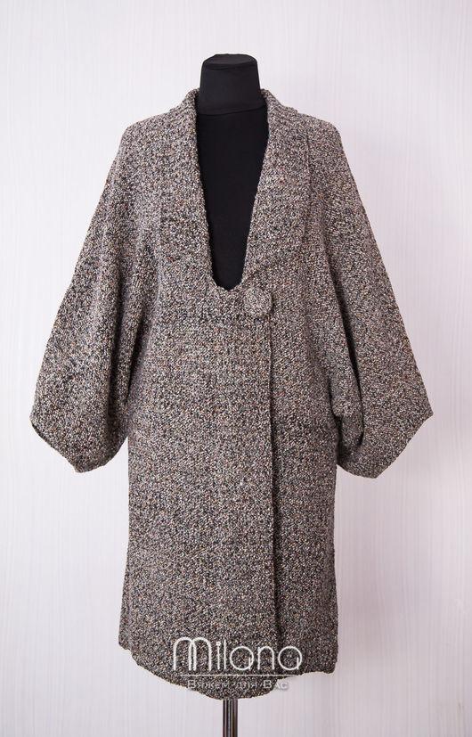 Верхняя одежда ручной работы. Ярмарка Мастеров - ручная работа. Купить Вязаный кардиган-пальто Калейдоскоп. Handmade. Темно-серый